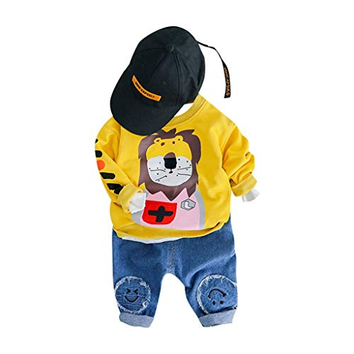 MOGOV Toddler Kids Baby Boys Cute Cartoon Long Sleeve Pullover T-Shirt Tops Jeans Pants Outfits Set Yellow ()