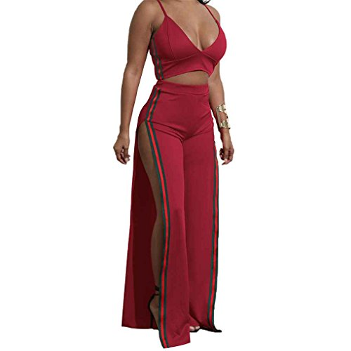 Rosso Sexy Donna Mengonee Crop Set Dress Top Long Split Pezzi Gonna Due Fashion Bandage Maxi 6qdad5
