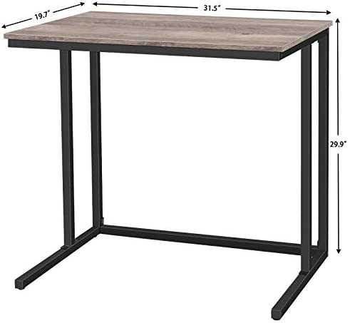 HOOBRO Computer Desk, C-Shaped Office Desk, Industrial Writing Table for Small Spaces, Stable and Space-Saving, Wood Look Accent Furniture with Metal Frame, Greige BG80DN01