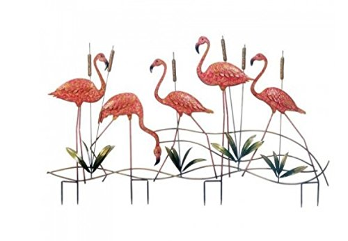 SKB Family Flamingo Garden Stake outdoor flock garden cattails five Iron Decor