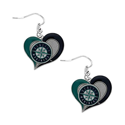 MLB Seattle Mariners Team logo Swirl Heart Dangle Earring Charm Gift Set