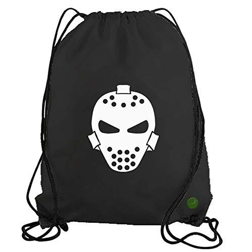 Goalie Mask Drawstring Gym Bag workout cinch nylon backpack (black) b11673