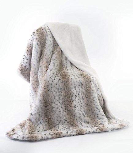 Lynx Jacquard Faux Acrylic Fur Throw Blanket with Faux Suede Trim and Sand Color Short Pile Faux Fur Lining ()