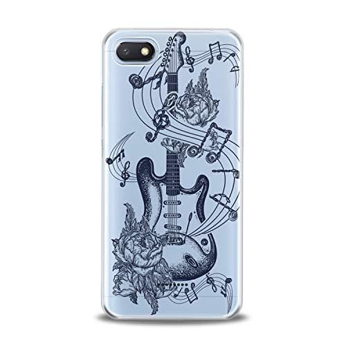(Lex Altern TPU Case for Xiaomi Redmi Note 7 6 Pro 6A 5 5A 4A 4X S2 F1 Clear Floral Guitar Art Pattern Amazing Black Cover Soft Silicone Special Dot)