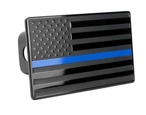 "LFPartS USA US American Flag Emblem Metal Trailer Hitch Cover (Fits 2"" Receivers, Black Flag with Thin Blue line)"