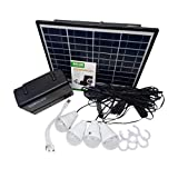 Qewmsg Solar Panel Power Storage Generator with LED Light Bulb USB Charger Portable Handheld Generator Power Box Home System Kit