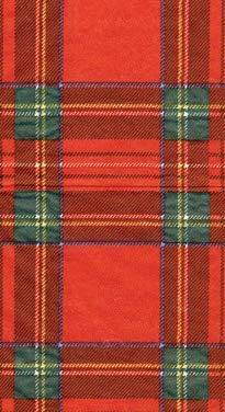 Caspari Tartan Plaid Christmas Decor Paper Guest Towels Christmas Party Red Pk 30