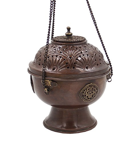 DharmaObjects Tibetan Hanging Incense Burner ~ Copper w/Tibetan Symbols ~ 7