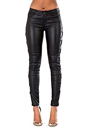0766a48627 Frauen Schwarz Leder Look Jeans Damen Mittlere Taille Skinny Fit Stretchy  Leggings: Amazon.co.uk: Clothing