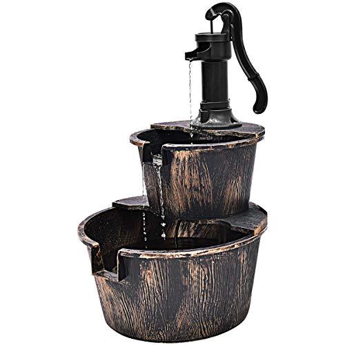 Giantex Barrel Water Fountain Rustic Wood w/Pump 2-Tier Freestanding Fountain for Outdoor Garden Patio Backyard Decorative Use - Old Fashioned Pump Fountain
