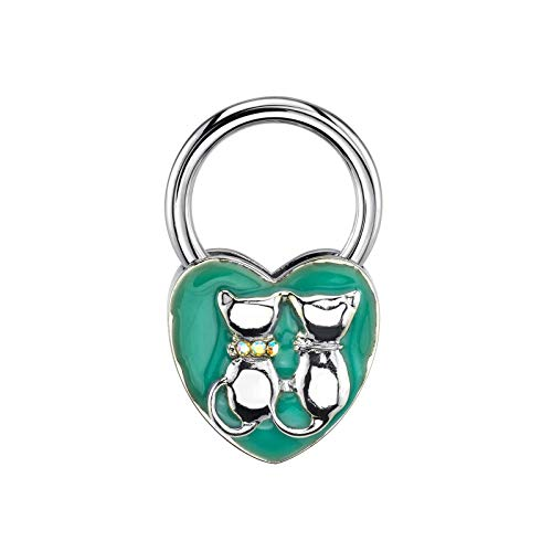 1928 Jewelry Silver-Tone Enamel and Crystal Cats Heart Key Fob