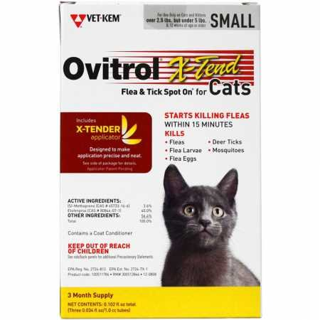 Ovitrol X-Tend Flea & Tick Spot On for Small Cats 2.5-5 lbs, 3 Months