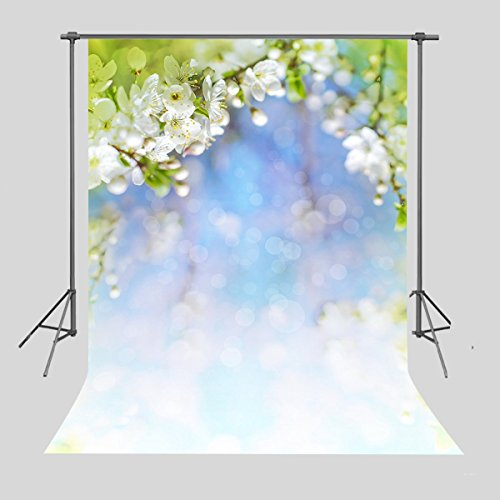 FUERMOR Fresh White Peach Flowers Photography Backdrop 5x7ft Studio Photo Props Room Mural (Upgrade Material) RQ020