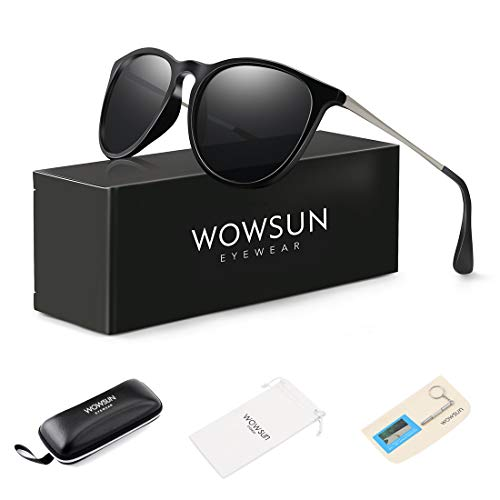 WOWSUN Polarized Sunglasses for Women Vintage Retro Classic Round Black ()