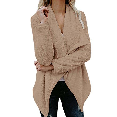Kaki Longues Tops Irregulier Parka Manteau Outwear Pull Ouvert Veste Manches Cardigan Femme Semen Chaud Casual Polaire ZwqgTg0