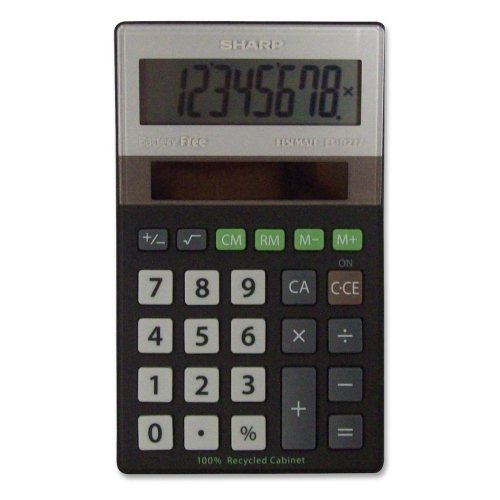 Wholesale CASE of 20 - Sharp Recycled Handheld Calculator-8-Digit Calculator, Solar Power, 2-45/64''X4-1/2''X1/2'', BK/SR by SHR