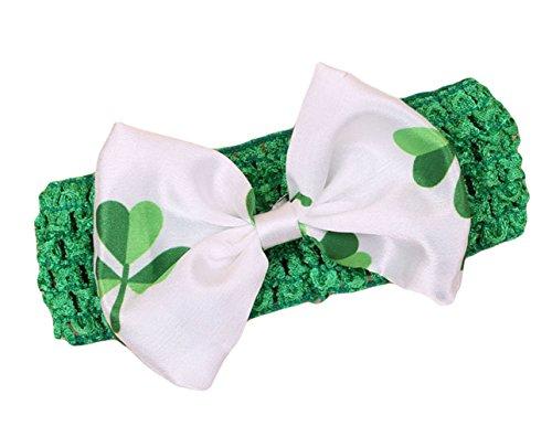 St. Patricks Day Baby Elastic Knitted Crochet Ribbon Hair Bow Headbands JHSP03 (Style B2)