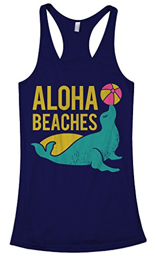 Threadrock Women's Aloha Beaches Racerback Tank Top L Navy (Animal That Starts With M)