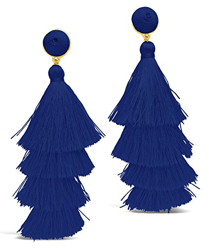 Sterling Forever - Fringe Multi Layered Gold Plated Tiered Dangle Drop Earrings (Cobalt Blue Earrings)