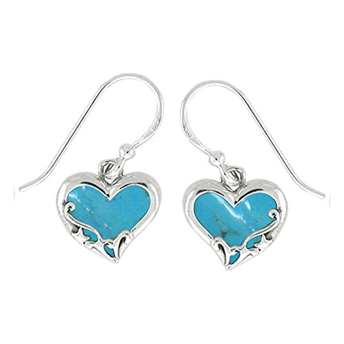 Boma Jewelry Sterling Silver Turquoise Heart Earrings
