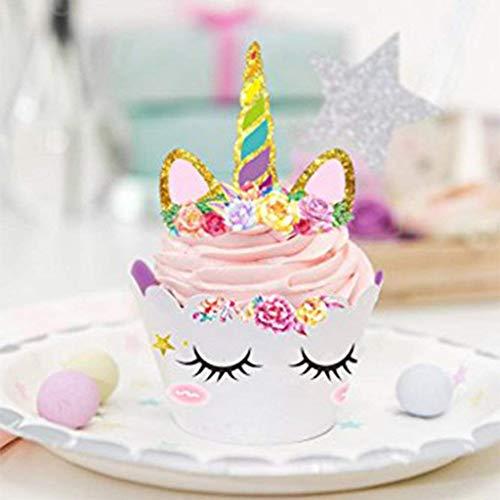 Tumao 24 PCS Decorazione Torta Unicorno Decorazione del Partito Decorazione della Torta Torta Decorazione Fai da Te