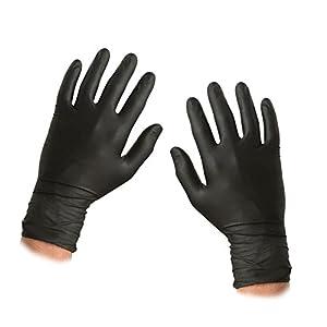 Caja de 100 guantes de nitrilo, libre de polvo, de color negro, tamaño grande, marca Saville 16