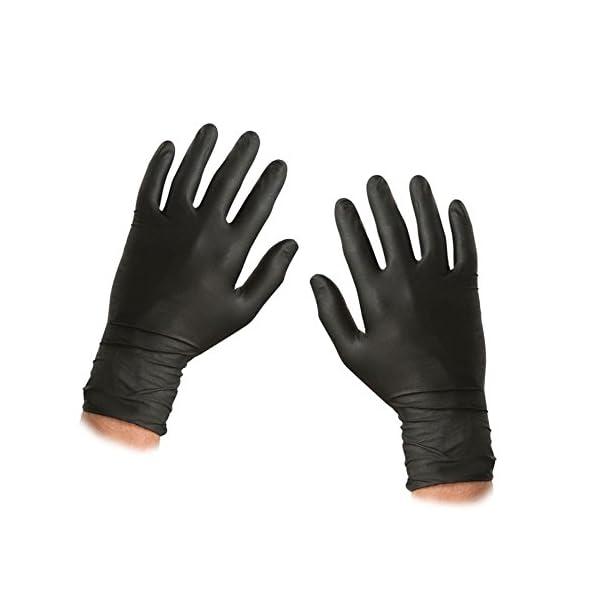 Caja de 100 guantes de nitrilo, libre de polvo, de color negro, tamaño grande, marca Saville 2