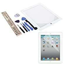 HDE Replacement Front Glass Digitizer Touch Screen + Screwdriver Pry Tool Kit + Screen Protector + Adhesive Tape for iPad 4 (White)