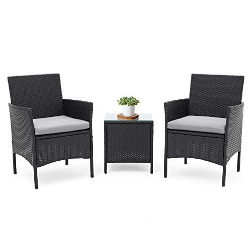 (LAHAINA Patio Furniture Set 3 Piece Outdoor Wicker Bistro Set Rattan Chair Conversation Sets with Coffee Table (Black))