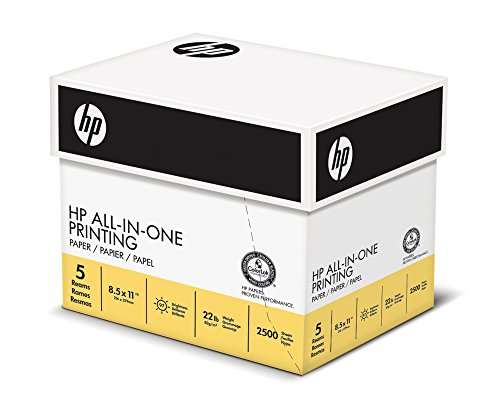 Premium Copier Paper (HP Printer Paper, All In One22, 8.5 x 11, Letter, 22lb, 96 Bright, 2,500 Sheets / 5 Ream Carton (207000C) Made In The USA)