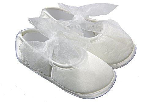 De nuevo de color blanco cinta de las muchachas zapatos de para niños en soporte de felicitación para bautizo - de bebé plegada con diseño 0-12 más posibilidades sin fin blanco roto blanco Talla:0-3 m
