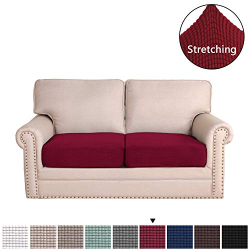 Stretch Cushion Cover Form Fitted Skid Resistance Sofa Cushion Furniture Protector Sofa Seat Sofa Slipcover Sofa Cover Soft Flexibility with Elastic Bottom(2-Piece Loveseat Cushion, Burgundy) (Couch Cushions Red)