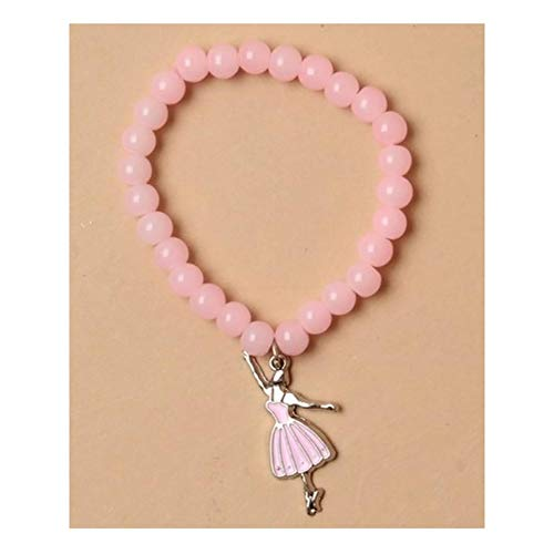 (Rimi Hanger Pastel Pink Glass Beaded Ballerina Charm Bracelet Girls Birthday Gift Pack of 3)