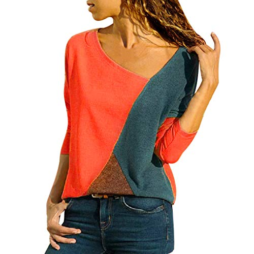(OrchidAmor Women O-Neck Splicing Color Collision Long Sleeves Plus Size Easy Tops Blouse Red)