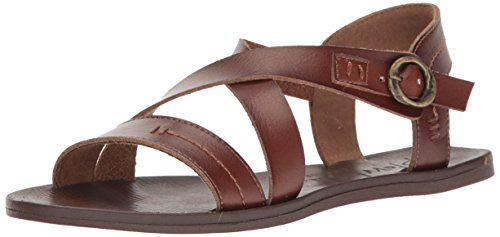 Blowfish Women's Drum Flat Sandal, Whiskey, 8 M US (Sandals Brown Leather)