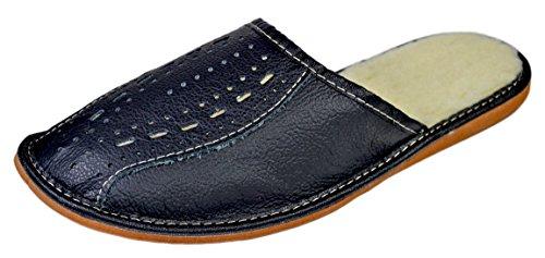 Reindeer Leather | Men's Warm Scuff | Black | Cowhide Leather | Indoor House Slippers (Reindeer Leather)