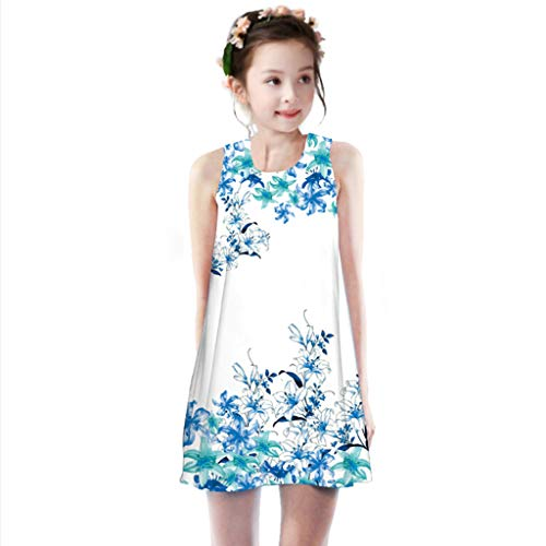 Willow S Cute Toddler Girls Dresses Summer Princess Dress Kids Baby Multicolor Pattern Printing Party Sleeveless Dresses Blue