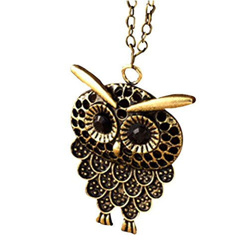 Xuanhemen Retro Owl Hollow Out Pendant Long Chain Necklace Women Sweater Chain