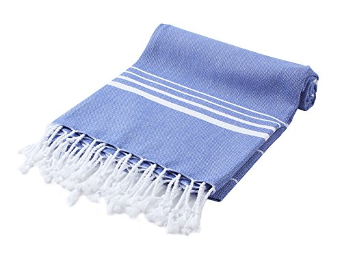 Paradise Series Turkish Bath Towels – Traditional Peshtemal Design for Bathrooms, Beach, Sauna – 100% Natural Cotton, Ultra-Soft, Fast-Drying, Absorbent – Warm, Rich Colors with Stripes Night Blue