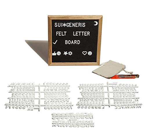 Sui Generis Felt Letter Board 10X10'' With 300 Changeable Letters & 2 Luminous Bobo Balloons - Fine Oak Frame, Ergo Stand, Perfectly Lined Slots - For Messages, Love Notes, Inspirational Quotes & More