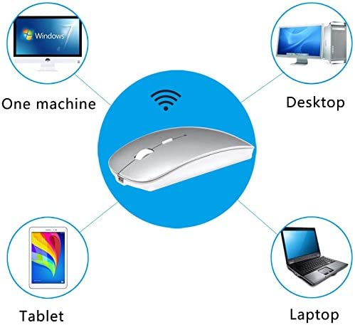 Bluetooth Wireless Charger Computer Mouse for MacE-book Air Mac Pro Laptop Ipad Pad PC The Laser Optical Rechargeable Mini Slim Silent Mice is Replacement Wired Widely Used Desktop Hp iMac (Silver)