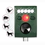 Dapang Ultrasonic Animal Repeller, Solar Powered Waterproof Outdoor with Ultrasonic Sound, Motion PIR Sensor and Flashing Light for Cats, Dogs, Squirrels, Moles, Rats