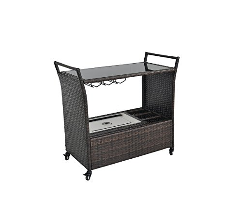 Outdoor Patio Brown Wicker Rattan Chest Portable Bar Cart on Rolling Wheels with Stainless Ice Bucket, Wine Rack and Buttom Storage (Outdoor Bar Cart)