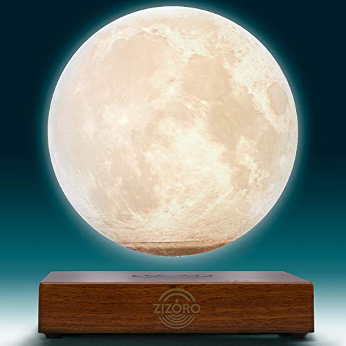 "Levitating Moon Lamp - 3D Printing Magnetic Levitation Floating LED Touch Globe Lamp - Best as Cool Room Decor Night Lights and a Wonderful Gift (Cool and Warm White, 5.9"")"