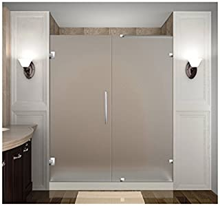 """Aston Nautis 71"""" x 72"""" Completely Frameless Hinged Shower Door in Frosted Glass, Brushed Stainless Steel (B01FZNLWZI) 