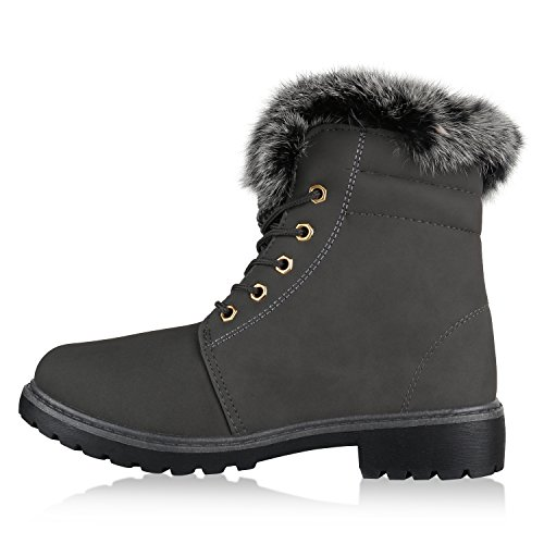 Stiefelparadies Warm Gefütterte Damen Stiefeletten Fell Outdoor Boots  Winterschuhe Flandell Grau Nieten Nieten ...