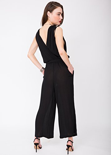 Wrap Likemary Soft Front Jumpsuit Crinkle Black 044nqTdg