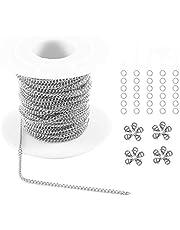Sauvoo 33FT Collar de eslabones de cadena de cable de acero inoxidable 1.5/2 / 2.5mm con 20 cierres de langosta y 30 anillos de salto para hacer joyas
