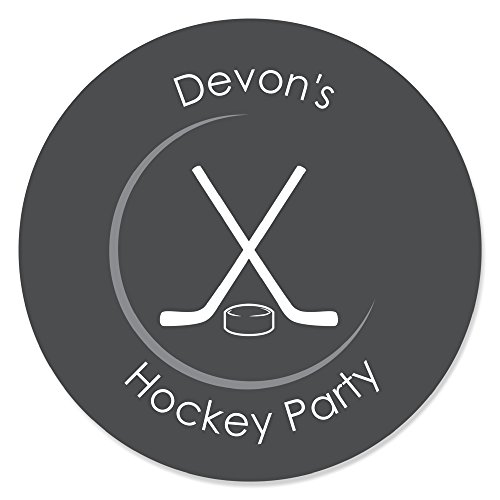 (Big Dot of Happiness Custom Shoots and Scores - Hockey - Personalized Baby Shower or Birthday Party Circle Sticker Labels - 24 Count)