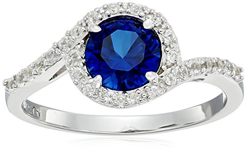 Sterling Silver Created Blue and White Sapphire Bypass Halo September Birthstone Engagement Promise Ring, Size 8 (Lab Ring Sapphire Created)